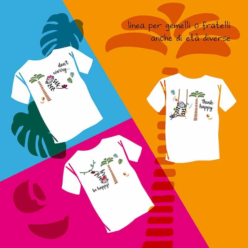 T-shirt bambini coordinate pensate da una mamma di gemelli per tutte le mamme bis o tris che cercano fantasia, colore e qualità
